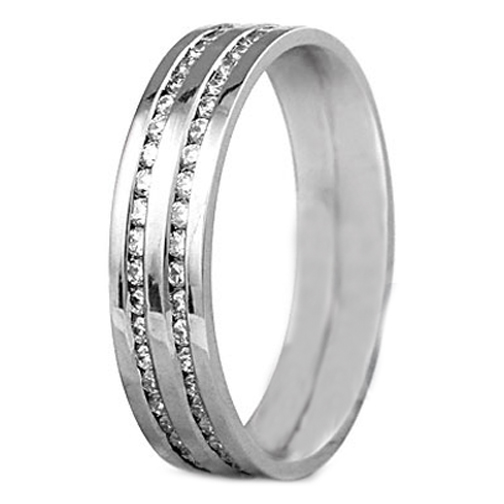 Round Diamond Channel Set Wedding Ring 0.44 tcw. in 14K White Gold