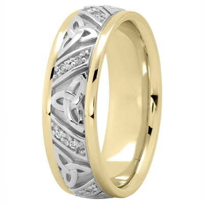 18K Two Tone Gold Celtic Knot Diamond Wedding Ring 7mm