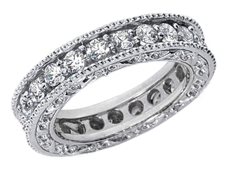 Vintage Micro-Pavé Set Round Diamond Eternity Wedding Band 1.25 tcw. In 14K White Gold