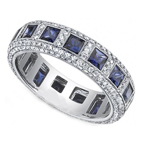 Princess Blue Sapphire Round Diamond Eternity Wedding Band Bezel Set In 14K White Gold
