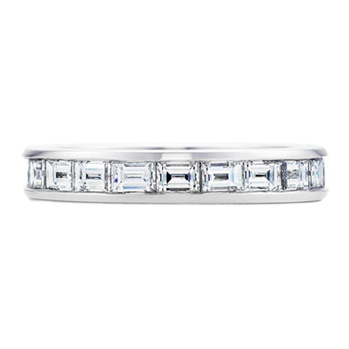in eternity bands baguette wedding ladies ring cut set stylish princess a platinum band diamond