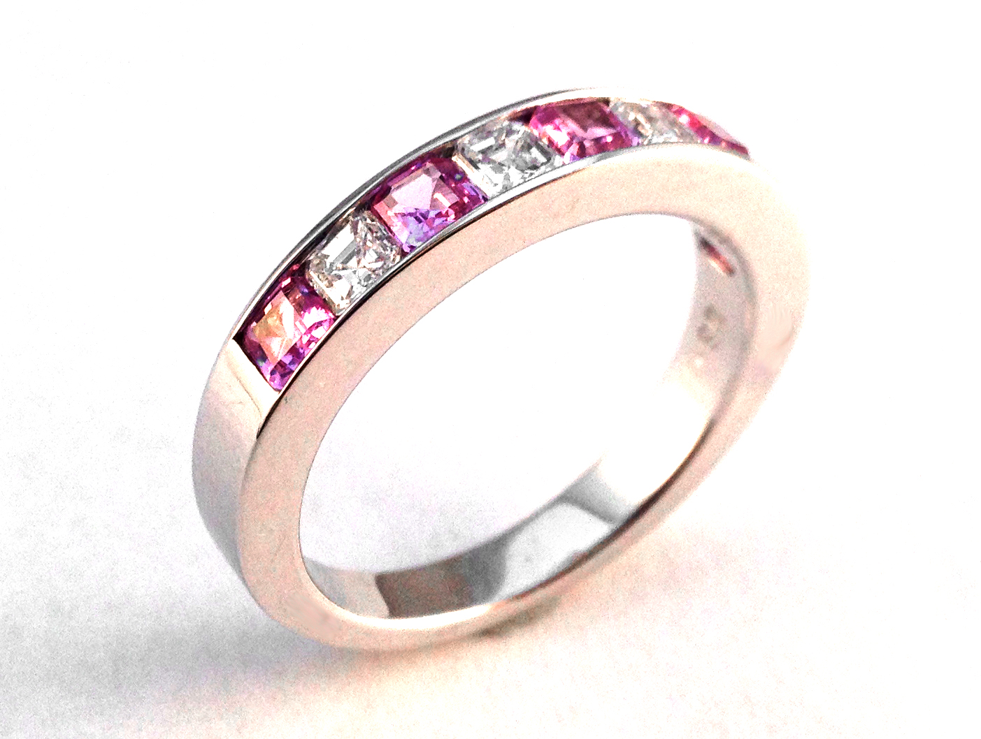 Four Stone Asscher Diamond & Pink Sapphire Wedding Band 0.9 tcw. Channel Set in 14K White Gold