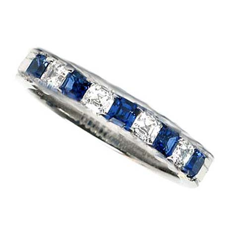 Four Stone Asscher Diamond & Blue Sapphire Wedding Band 0.9 tcw. Channel Set in 14K White Gold