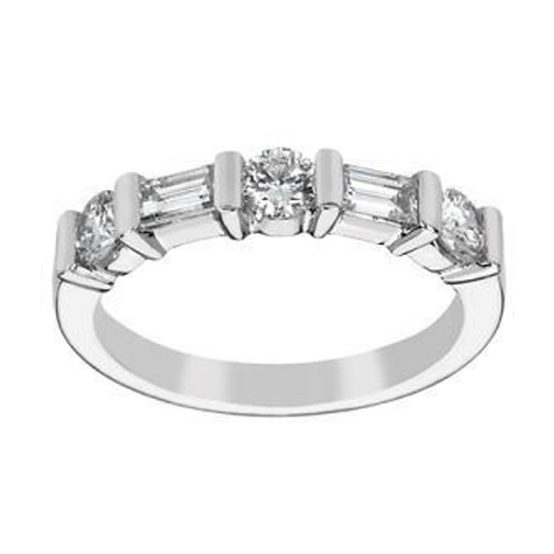 Wedding Band - Round & Baguette Diamond Wedding Band 0.65 tcw. In ...
