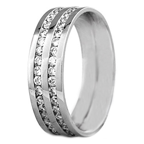 Round Diamond Channel Set Wedding Ring 0.80 tcw. In 14K White Gold