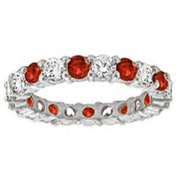 Round Diamond & Ruby Eternity Wedding Band 1.20 tcw. In 14k White Gold