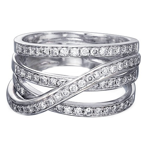 Intertwined Diamond Wedding Band 0 50 Tcw In 14k White Gold