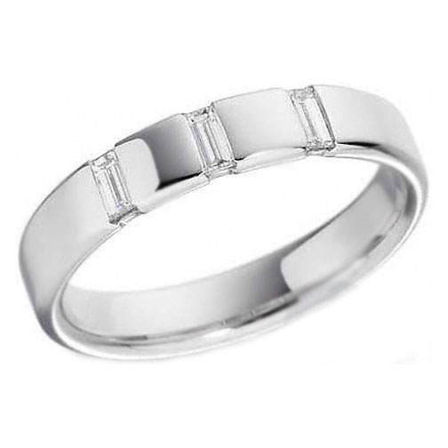 Three Stone Bezel Set Baguette Diamond Wedding Ring in White Gold