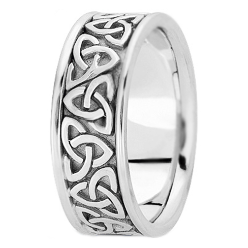 14k White Gold Trinity Celtic Knot Wedding Ring