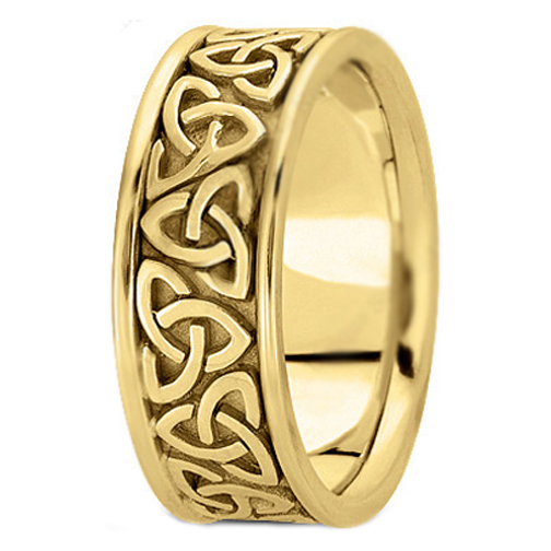 14K Yellow Gold Trinity Celtic Knot Wedding Ring