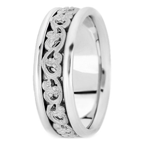 Platinum Vintage Engraved Men's Wedding Band