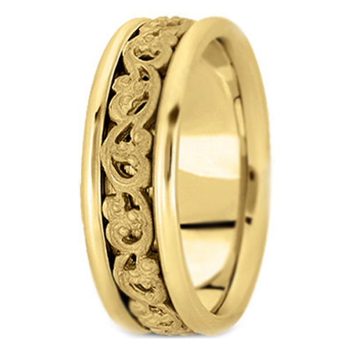 Wedding Band 14k Yellow Gold Vintage Engraved Men S Wedding Band