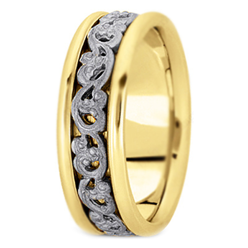14K Yellow and White Gold Vintage Engraved Men's Wedding Band