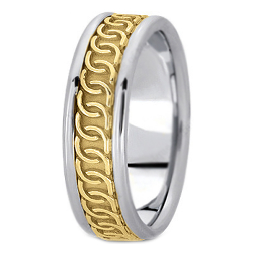 Two-Tone 14K White & Yellow Gold Intertwined Engraved Men's Wedding Band