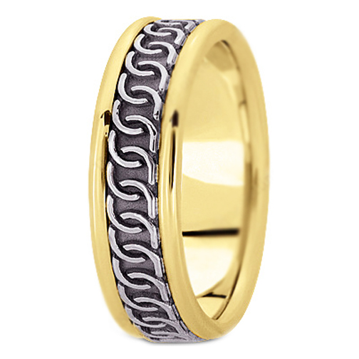 14K Yellow and White Gold Intertwined Engraved Men's Wedding Band