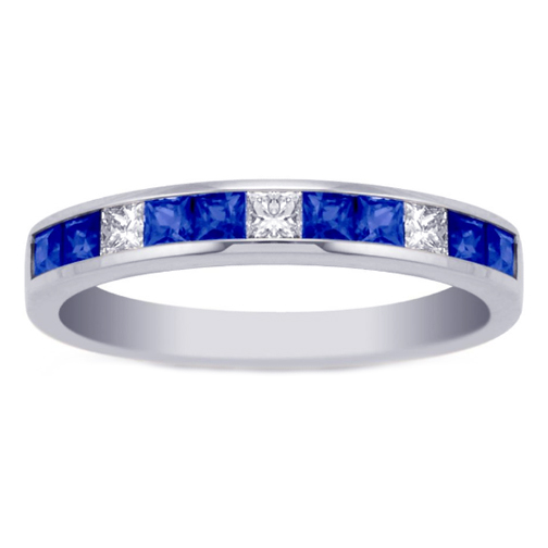 Princess Diamond and Sapphire Channel Set Wedding Band 0.85 tcw. In 14K White Gold