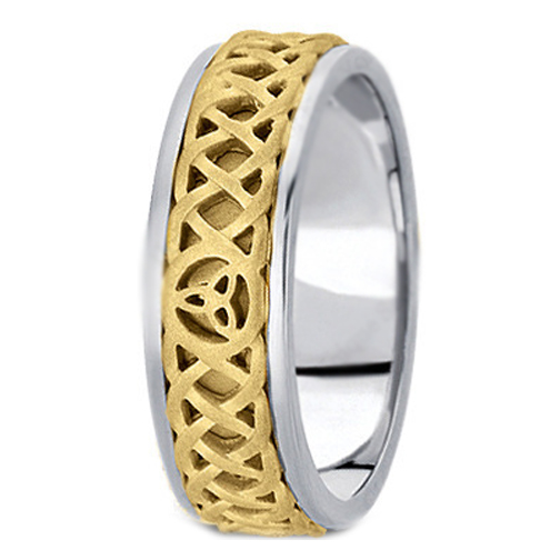 Two-Tone 14K White & Yellow Gold Intertwined Engraved  Celtic Knot Trinity Men's Wedding Band