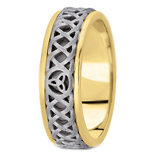 Two-tone 14K Yellow & White Gold Celtic Knot Trinity Intertwined Engraved Men's Wedding Band