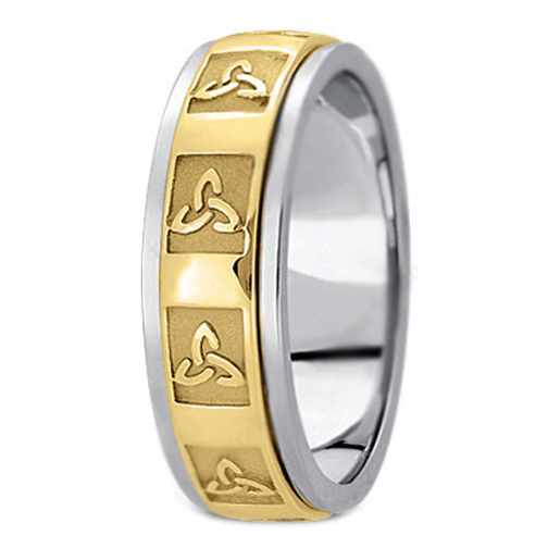 Two Tone 14K White & Yellow Gold Engraved Celtic Knot Trinity Men's Wedding Band