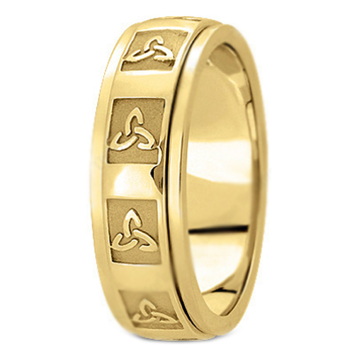 14K Yellow Gold Celtic Knot Trinity Engraved Men's Wedding Band
