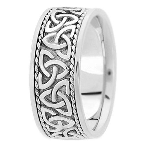 14K White Gold Celtic Knot Trinity Roped Engraved Wide Menu0027s Wedding Band