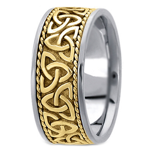 Two-Tone 14K White & Yellow Gold Engraved Men's Celtic Knot Trinity Roped Wide Wedding Band