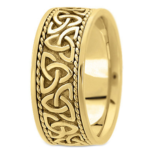 14K Yellow Gold Celtic Knot Trinity Roped Engraved Men's Wide Wedding Band