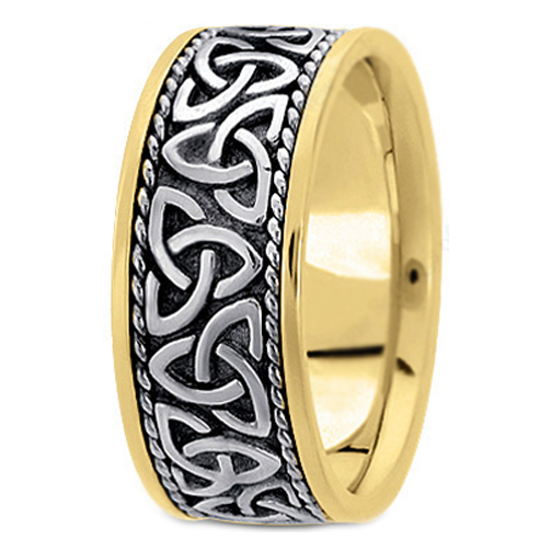 Two-tone 14K Yellow & White Gold Celtic Knot Trinity Roped Engraved Men's Wide Wedding Band