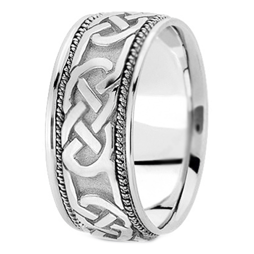 14K White Gold Intertwined Engraved Rope Men's Wedding Ring