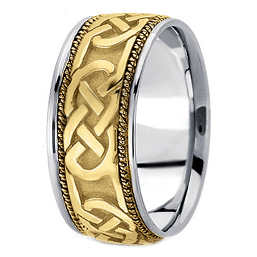 Two-Tone 14K White & Yellow Gold Engraved Men's Intertwined Rope Wedding Ring