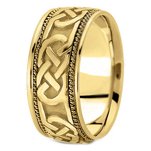 14K Yellow Gold Intertwined Rope Engraved Men's Wedding Ring