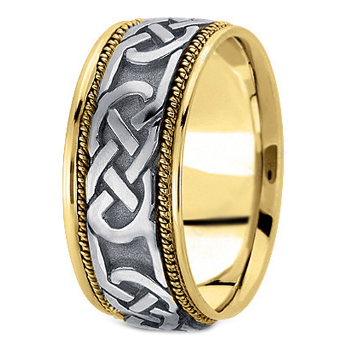14K Yellow and White Gold Intertwined Engraved Rope Men's Wedding Ring