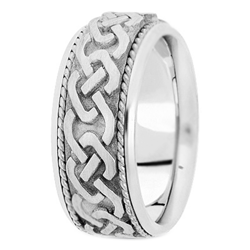 Platinum Engraved Men's Intertwined Rope Wedding Band