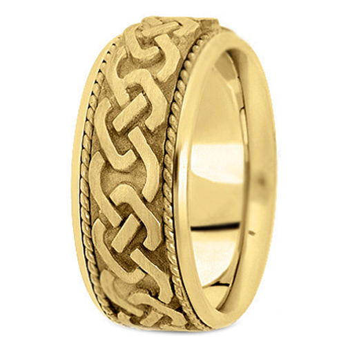 14K Yellow Gold Intertwined Engraved Rope Men's Wedding Band