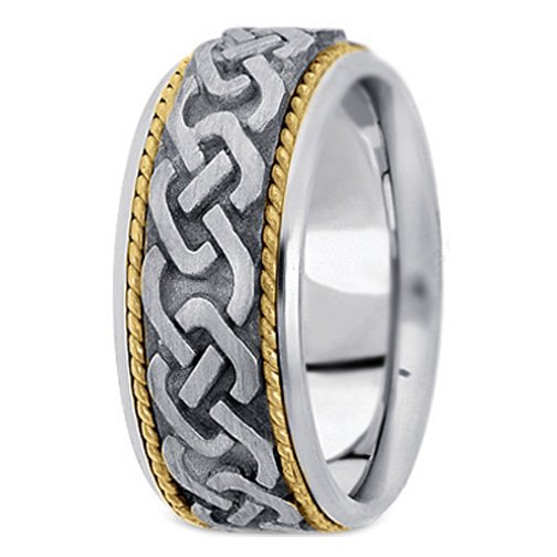 Two-Tone 14K White & Yellow Gold Engraved Men's Intertwined Rope Wedding Band
