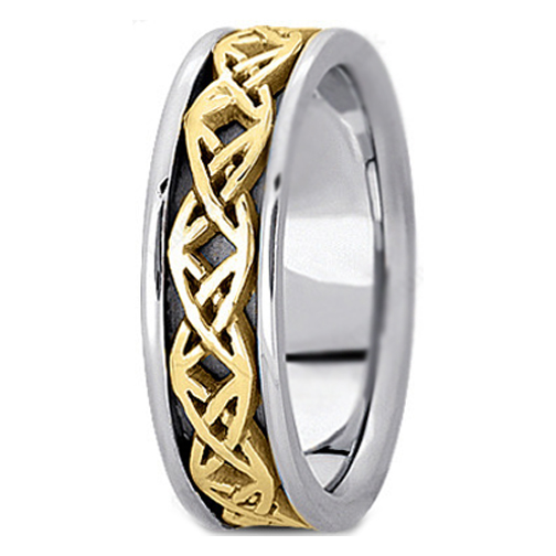 Two Tone 14K White Yellow Gold Engraved Mens Intertwined Wedding Band
