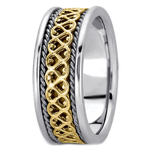 Two-Tone 14K White & Yellow Gold Eternal Hearts Men's Rope Wedding Band