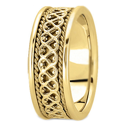14K Yellow Gold Eternal Hearts Rope Men's Wedding Band