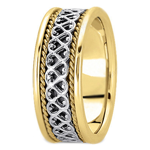 14K Yellow and White Gold Eternal Hearts Men's Rope Wedding Band