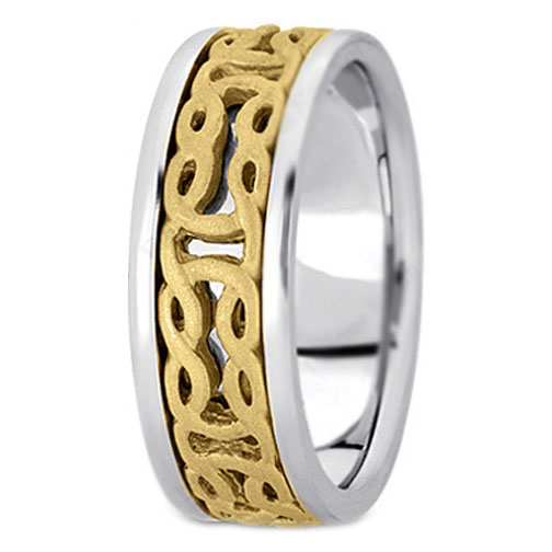 Two-Tone 14K White & Yellow Gold Engraved Men's Intertwined Wedding Ring