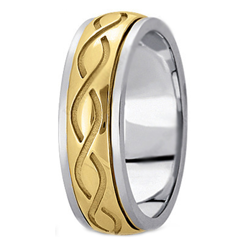 Two Tone 14k White Yellow Gold Intertwined Engraved Men S Wedding Ring 7 Mm