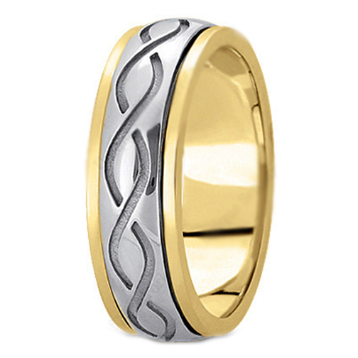 14K Yellow and White Gold Engraved 7 mm Men's Intertwined Wedding Ring