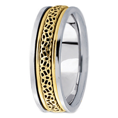 Two Tone 14k White Yellow Gold Intertwined Engraved Men S Wedding Ring 6 5 Mm