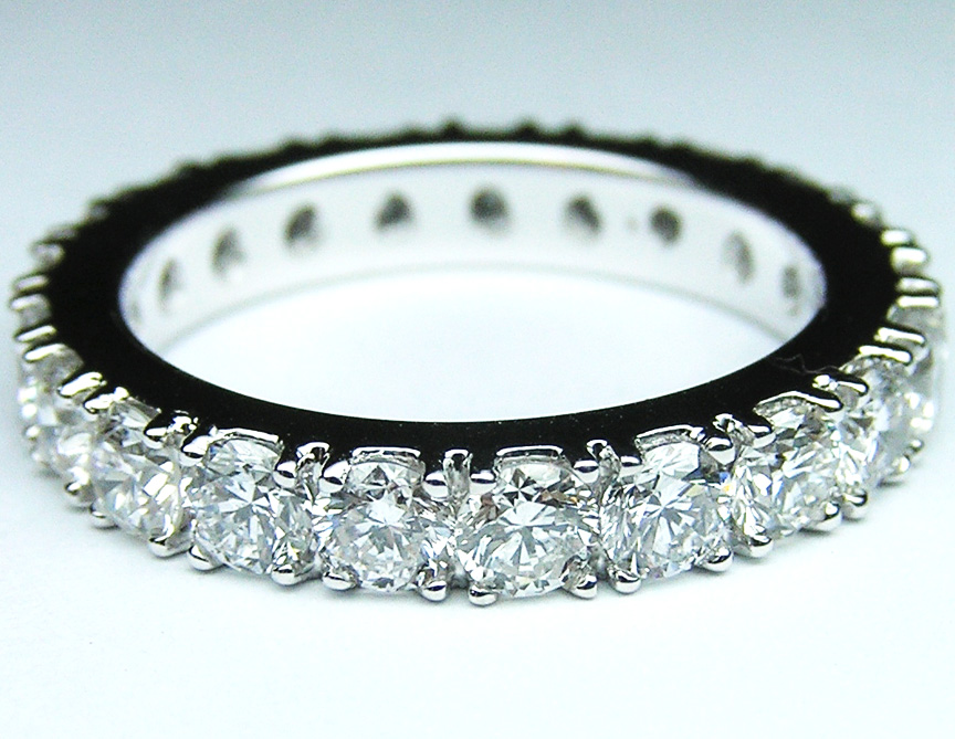 Round Diamond Eternity Wedding Band in 14 Karat White Gold