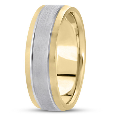 14K Yellow and White Gold 5 mm Men's Satin Finished Wedding Ring