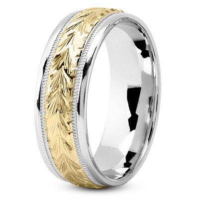 Two-Tone 14K White & Yellow Gold 4.5 mm Men's Antique Wedding Ring