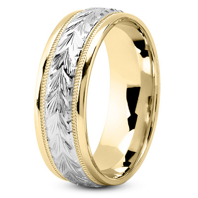 14K Yellow and White Gold 4.5 mm Men's Antique Wedding Ring