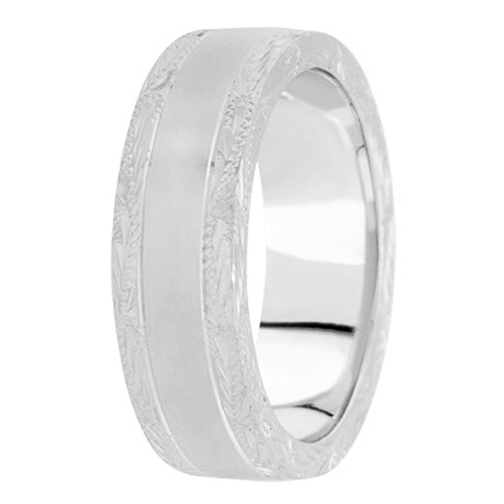 Platinum 8 mm Men's Antique Satin Wedding Ring