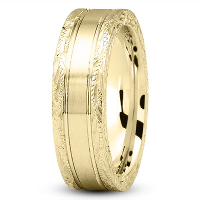 14K Yellow Gold 8 mm Men's Antique Satin Wedding Ring