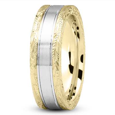 14K Yellow and White Gold 8 mm Men's Antique Satin Wedding Ring